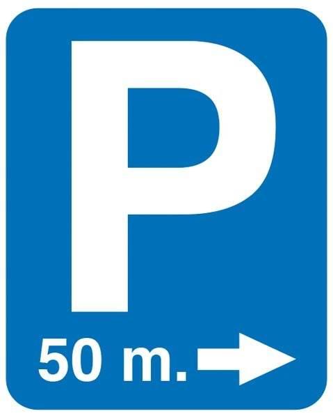 P med 50 m Pil . Parkeringsskilt
