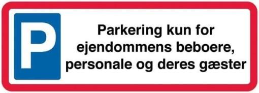 Parkering kun for ejendommens beboere