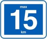 Påbudsskilt 15 km. Trafikskilt
