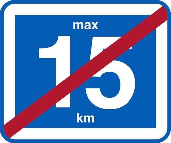 Påbudsskilt 15 km ophør. Trafikskilt