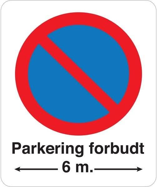 Parkering forbudt 6 m pil. Parkeringsforbudt skilt