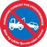 PARKERING FORBUDT FOR UVEDKOMMENDE Biler og cykler fjernes uden ansvar. P skilt