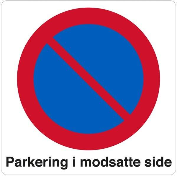 Parkering i modsatte side Skilt