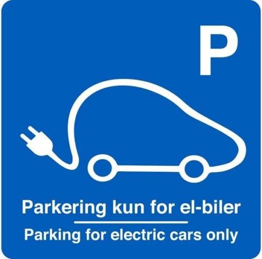 Parkering kun for el-biler Parking for electric cars only. Parkeringsskilt