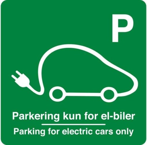 Parkering kun for el-biler Parking for electric cars only Grøn. Parkeringsskilt