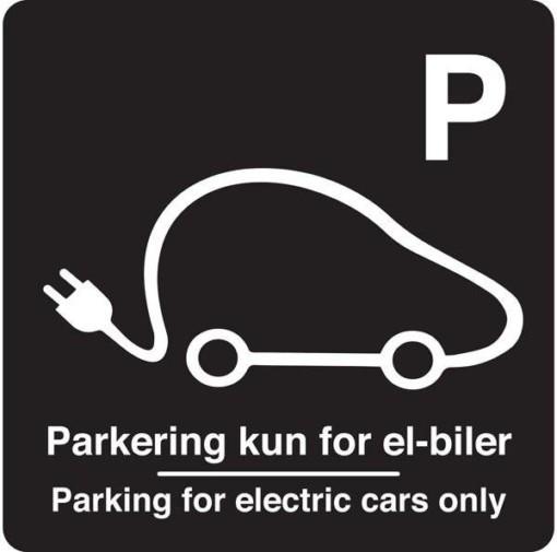 Parkering kun for el-biler Parking for electric cars only Sort. Parkeringsskilt
