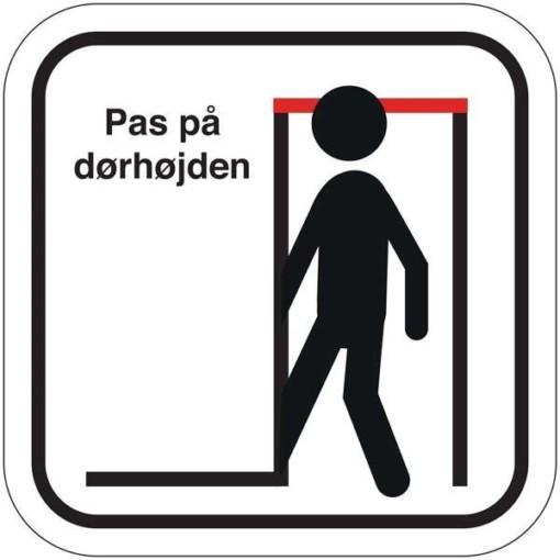 Pas på dørhøjden. Piktogram skilt