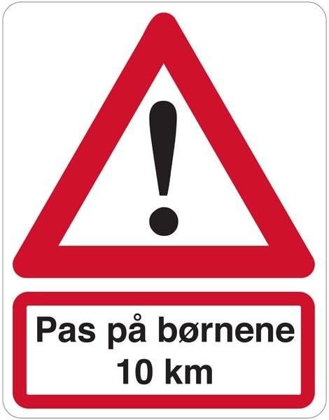 Pas på børnene 10 km skilt