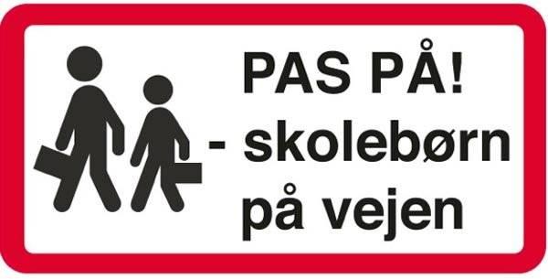 Advarselsskilt - Pas på! Skolebørn på vejen