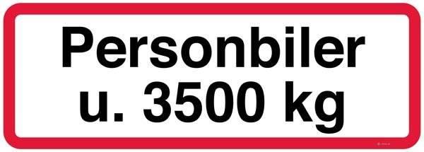 Personbiler u. 3500 kg. Trafikskilt