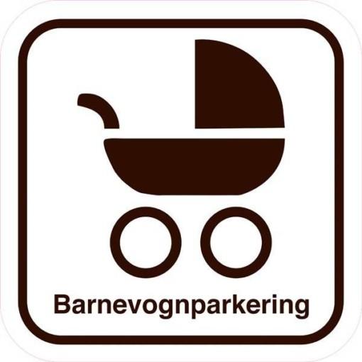Barnevognsparkering med tekst. Parkeringsskilt
