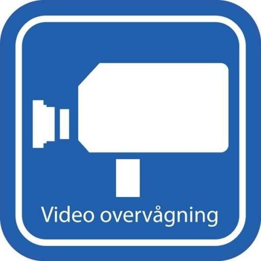 Blå Video overvågning. Piktogram skilt