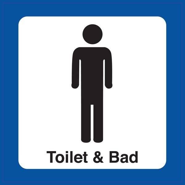 Toilet & bad mænd Piktogram skilt