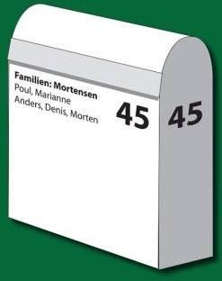Postkasse tekst uden bund mellem bogstaverne