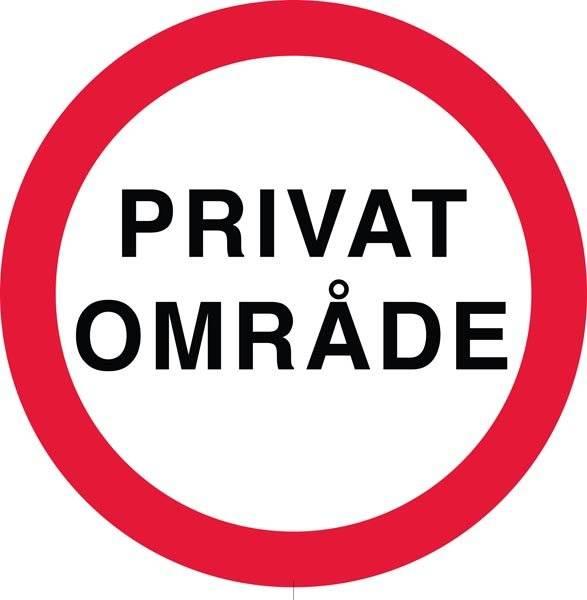 Privat område. Oplysningsskilt