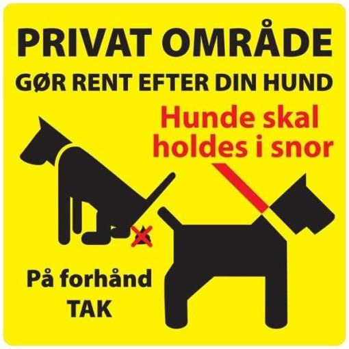 PrivatOmråde gør rent efter din hund hund skal holdes i snor Gult Skilt