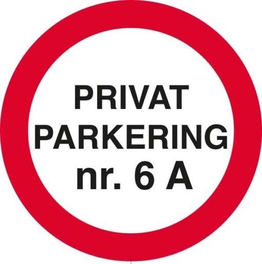 Privat Parkering med nr. P skilt
