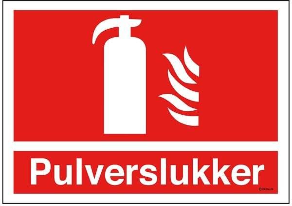 Pulverslukker Brandskilt