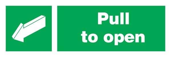 Pull To Open Left  Redningsskilte.