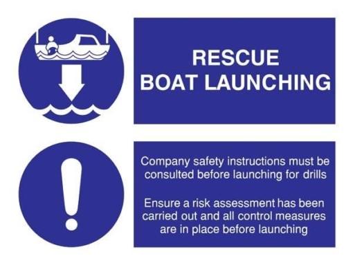 Rescue Boat Launching Påbudsskilt