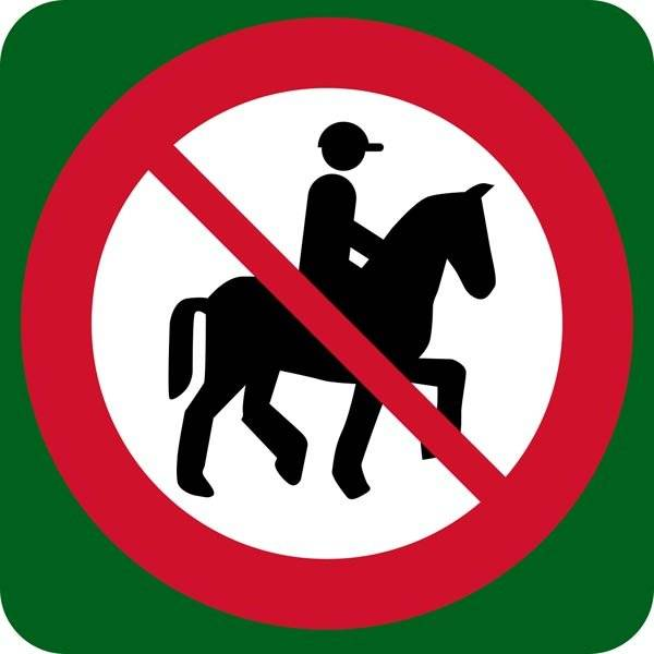 Ride forbudt skilt