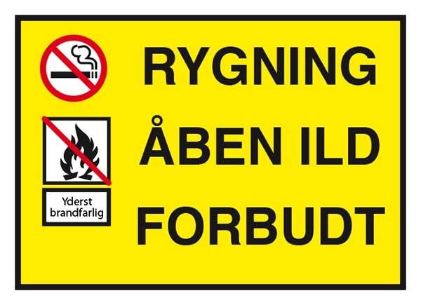 Rygning åben ild forbudt. Forbudsskilt