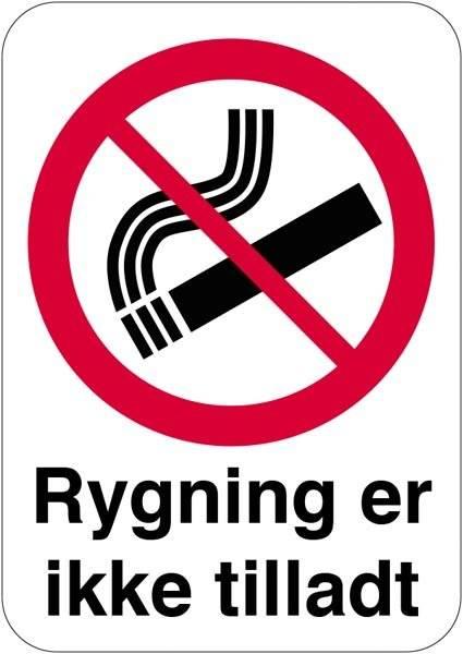 Rygning er ikke tilladt skilt