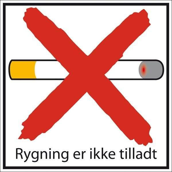 Rygning er ikke tilladt. Rygeskilt