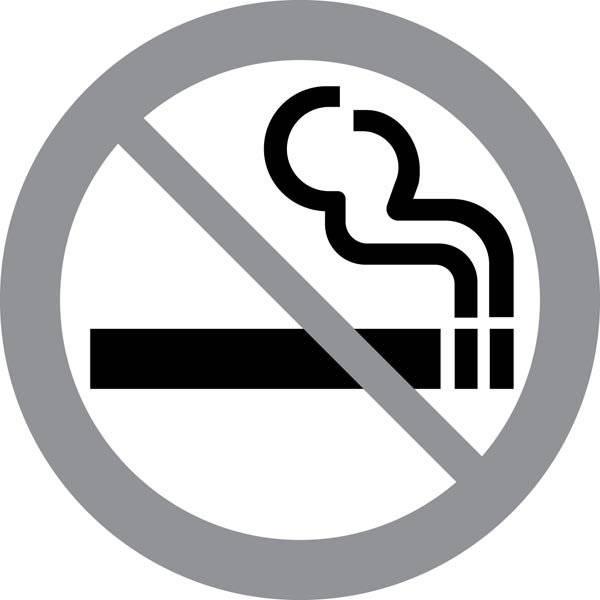 Rygning forbudt Grå. Forbudsskilt