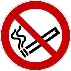 Rygning forbudt ISO_7010_P002. Forbudsskilt