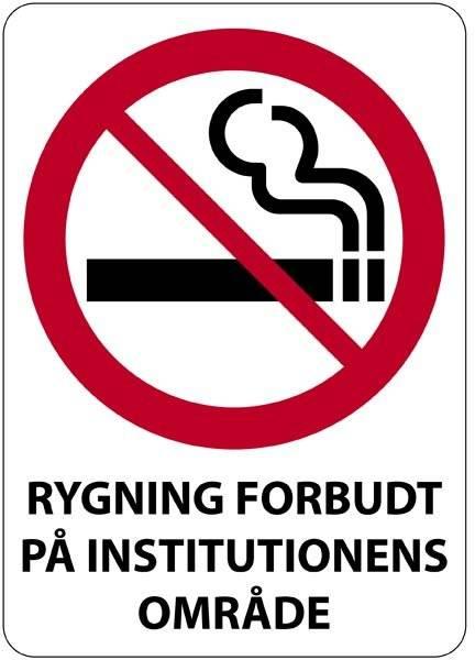 Rygning forbudt på institutionens område skilt
