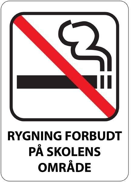 Rygning forbudt på skolens område skilt
