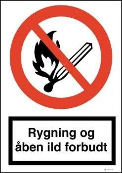 Rygning og åben ild forbudt skilt
