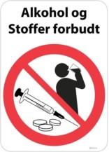 Alkohol og stoffer forbudt skilt