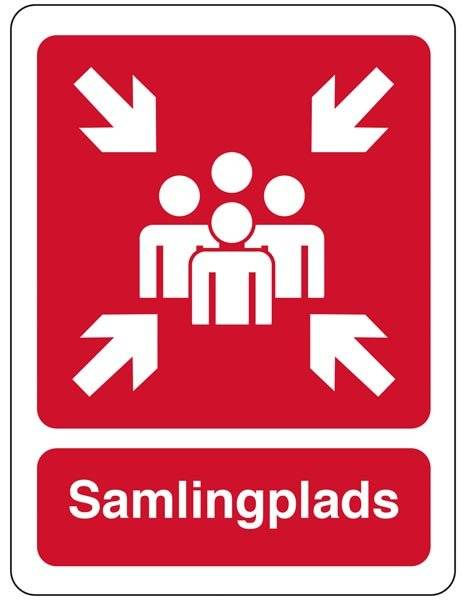 Samlingsplads Rød Piktrogram skilt