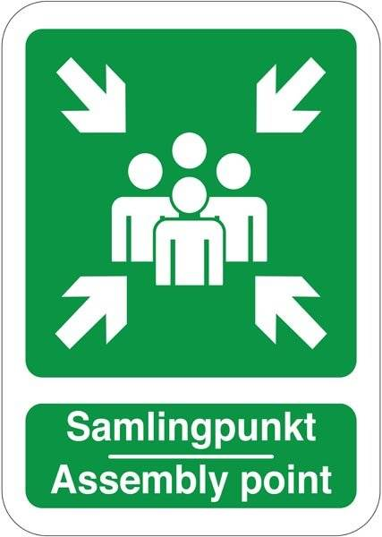 Samlingspunkt Assembly point. Redningsskilt