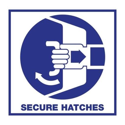 Secure Hatches. Redningsskilt