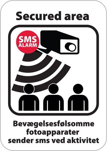 Secured area Bevægelssfølsomme fotoapparater sender sms ved aktivitet skilt