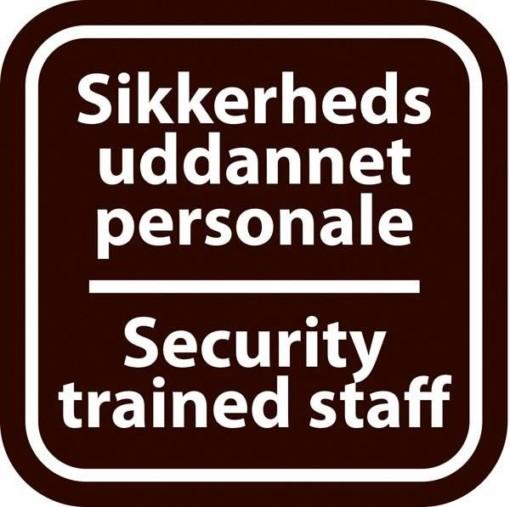 Sikkerheds uddannet personale Security trained staff sort. Piktogram skilt