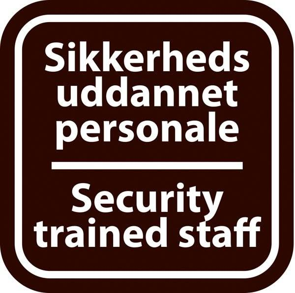 Sikkerheds uddannet personale Security trained staff sort. Piktogram skilt