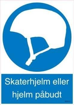 Påbudsskilt - Skaterhjelm eller hjelm påbudt