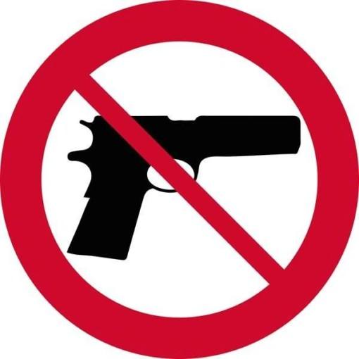 Skydevåben forbudt. Forbudsskilt