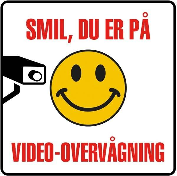 Smil du er på Video-overvågning Skilt (rød på hvid )