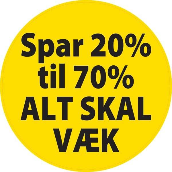Splatter Spar 20% til 70% ALT SKAL VÆK skilt