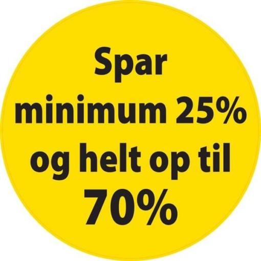 Spar minimum 25% og helt op til 70% skilt