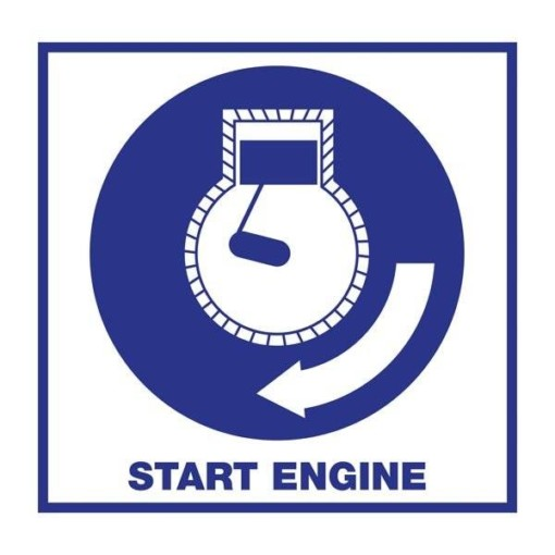 Start Engine. Redningsskilt