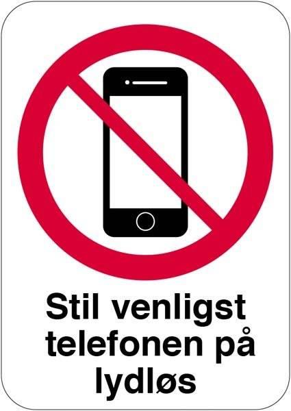 Stil venligst mobilen på lydløs skilt