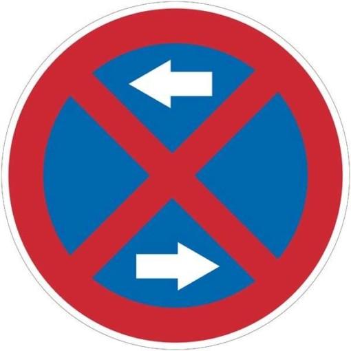 Stopforbudsskilt med pile. Forbudsskilt
