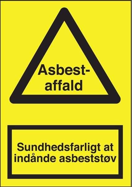 Advarselsskilt - Sundhedsfarligt at indånde asbeststøv