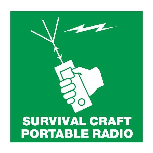 Survival Craft Portable Radio: Redningsskilt